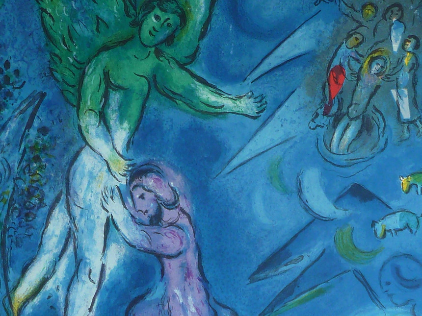 Jacob wrestles with the angel by Marc Chagall